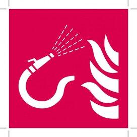 Brandslang Met Losse Straalpijp 100x100 (sticker)