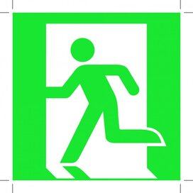 Emergency Exit 100x100 (left Hand) (sticker)