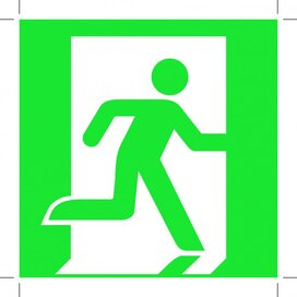 Emergency Exit 200X200 (Right Hand) (Sticker)