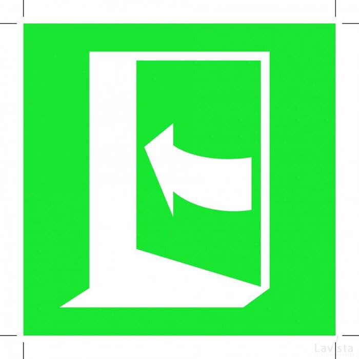 E022: Door Opens By Pushing On The Left-hand Side 100x100 (sticker)