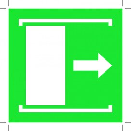 E033: Door Slides Right To Open 100x100 (sticker)