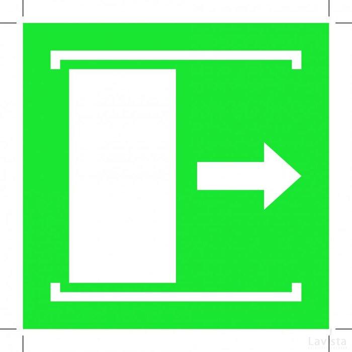 E033: Door Slides Right To Open 100x100 (sticker)