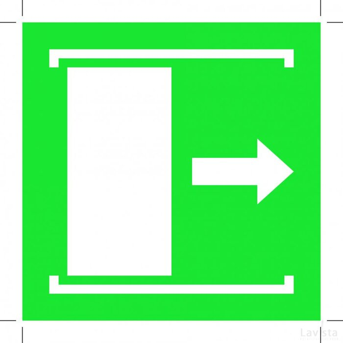 E033: Door Slides Right To Open 300x300 (sticker)