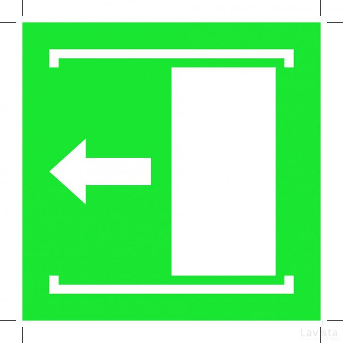 E034: Door Slides Left To Open 100x100 (sticker)