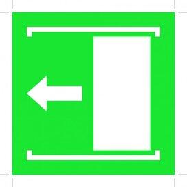 E034: Door Slides Left To Open 150x150 (sticker)