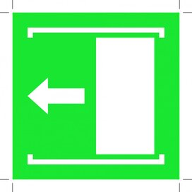 E034: Door Slides Left To Open 500x500 (sticker)
