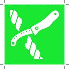 E035: Liferaft Knife 100x100 (sticker)