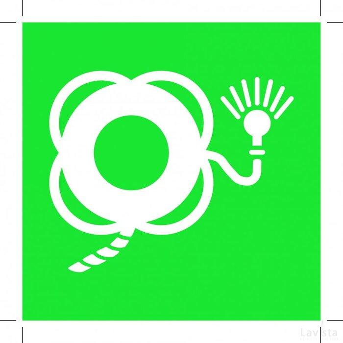 E043: Lifebuoy With Line And Light 100x100 (sticker)