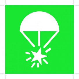 E049: Rocket Parachute Flare 100x100 (sticker)