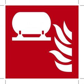 F012: Fixed Fire Extinguishing Installation 100x100 (sticker)