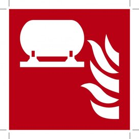 F012: Fixed Fire Extinguishing Installation 400x400 (sticker)