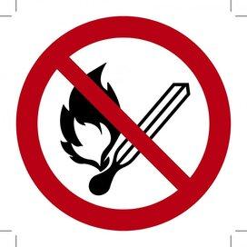 Open vuur verboden 150x150 (sticker)