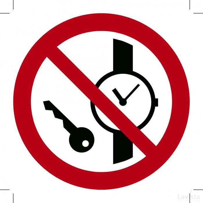 Metalen voorwerpen verboden 100x100 (bordje)