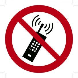 Mobiele telefoon verboden 100x100 (sticker)