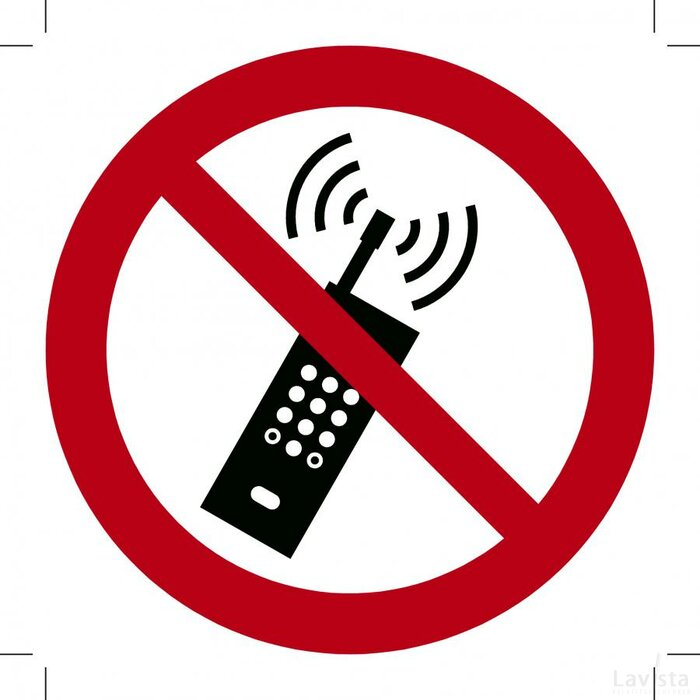Mobiele telefoon verboden 500x500 (sticker)