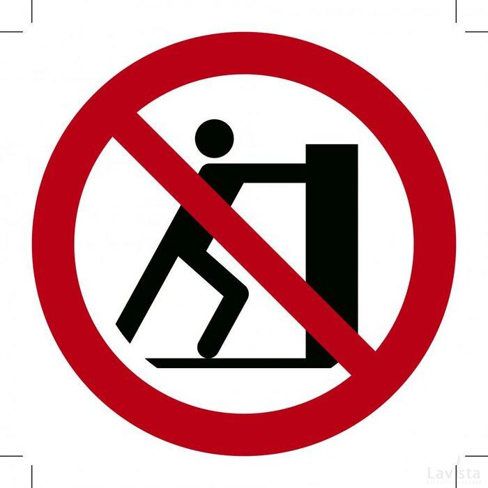 Verboden te duwen 200x200 (bordje)