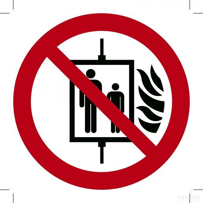 Verboden de Lift te Gebruiken bij Brand 100x100 (sticker)