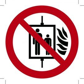 Verboden de Lift te Gebruiken bij Brand 150x150 (sticker)