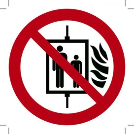 Verboden de Lift te Gebruiken bij Brand 200x200 (sticker)