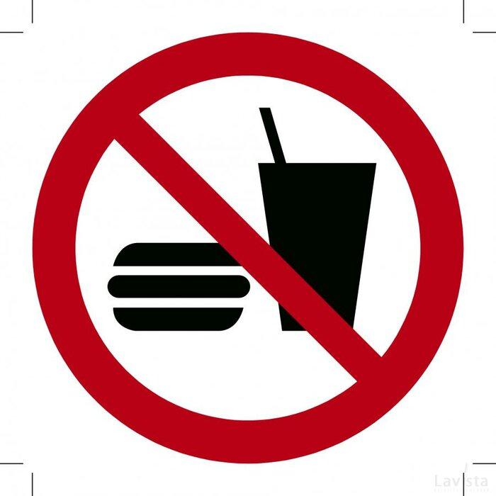 Verboden te eten en drinken 100x100 (sticker)
