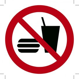Verboden te eten en drinken 500x500 (sticker)