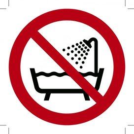 Verboden producten in bad of onder de douche te gebruiken 100x100 (sticker)