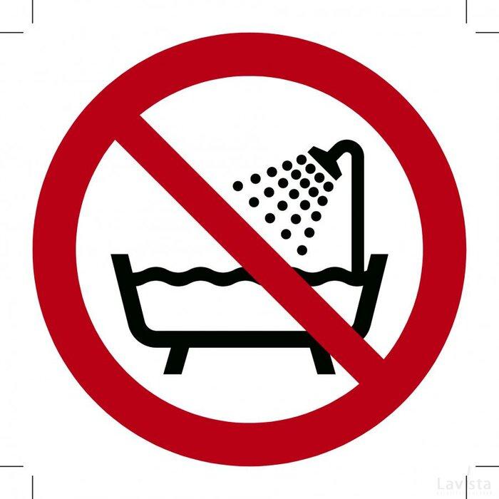 Verboden producten in bad of onder de douche te gebruiken 200x200 (sticker)