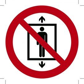 Lift verboden voor personen 100x100 (sticker)