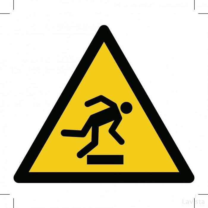 Waarschuwing, Struikelgevaar 200x200 (sticker)