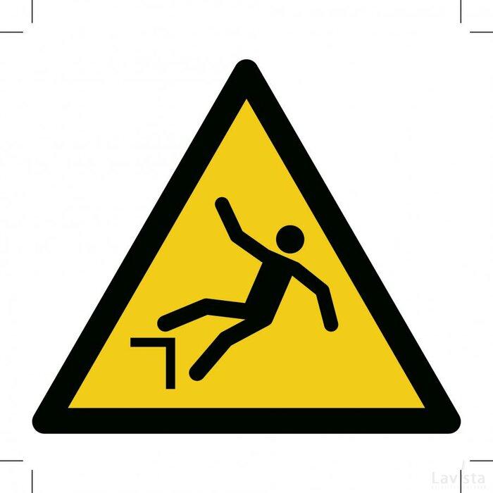 Waarschuwing, Valgevaar hoogteverschil 500x500 (sticker)