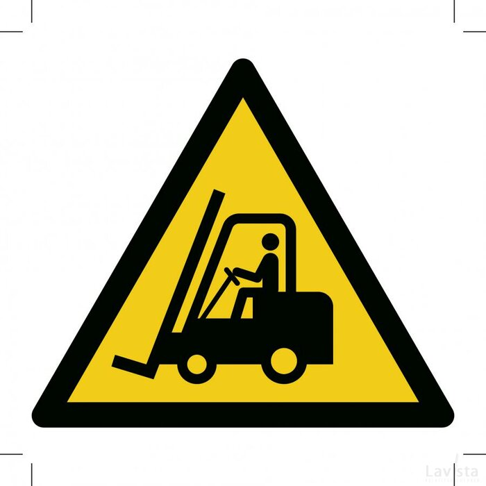 Warning; Forklift Trucks And Other Industrial Vehicles 500x500 (sticker)