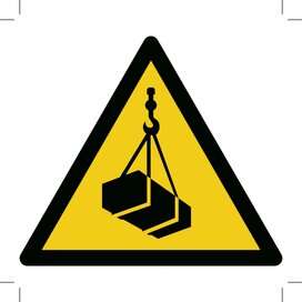 Warning; Overhead Load 100x100 (sticker)