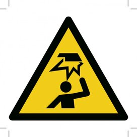 Warning; Overhead Obstacle 100x100 (sticker)