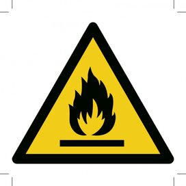 Warning; Flammable Material 500x500 (sticker)