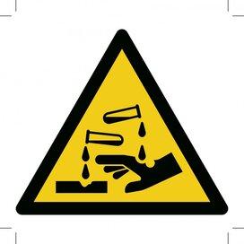 Waarschuwing, Bijtende stoffen 150x150 (sticker)