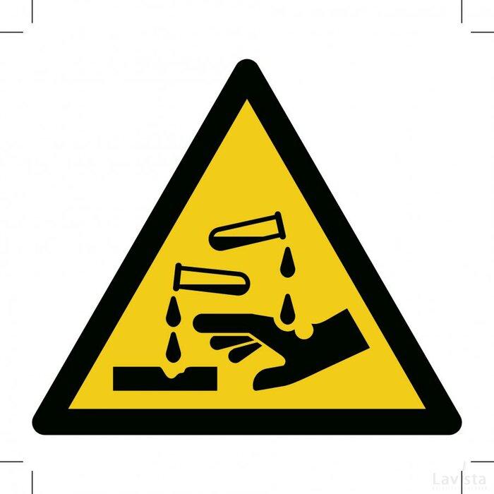 Waarschuwing, Bijtende stoffen 200x200 (sticker)
