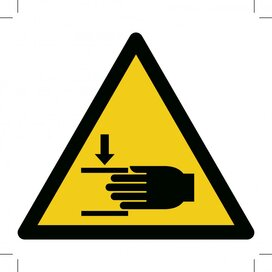 Warning; Crushing Of Hands 150x150 (sticker)