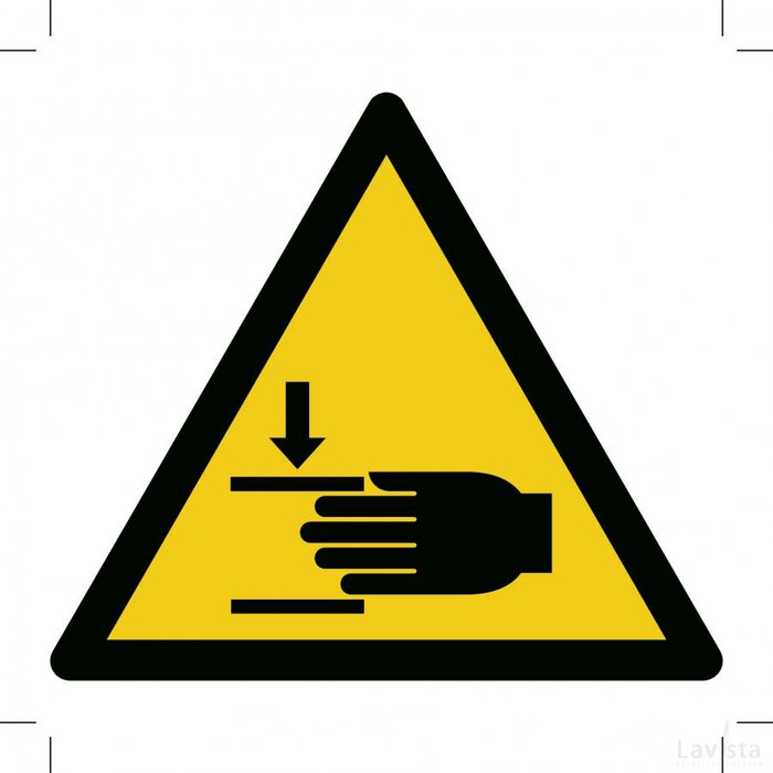 Waarschuwing , Pletgevaar 150x150 (bordje)