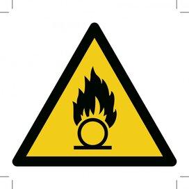 Waarschuwing, Oxiderende stoffen 100x100 (sticker)