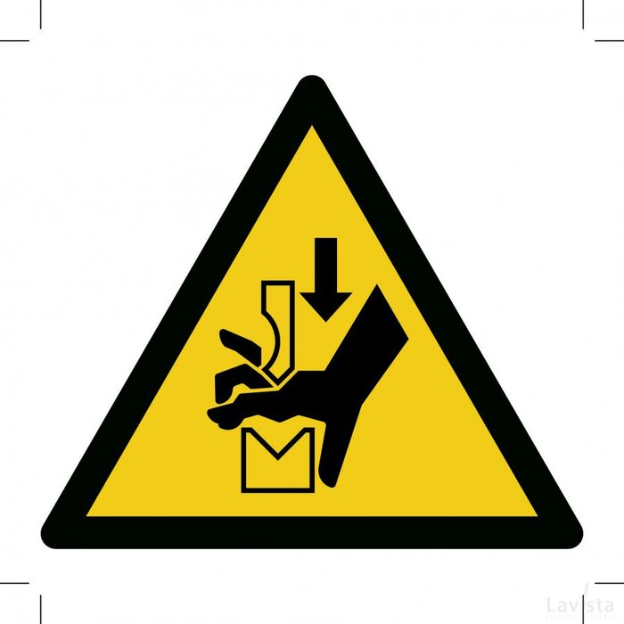 W030: Warning; Hand Crushing Between Press Brake Tool 100x100 (sticker)
