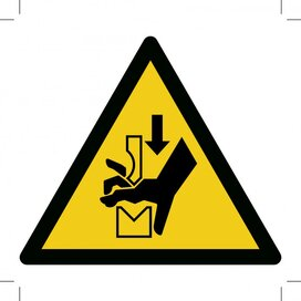 W030: Warning; Hand Crushing Between Press Brake Tool 200x200 (sticker)