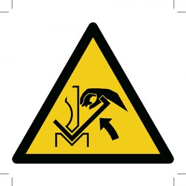 W031: Warning; Hand Crushing Between Press Brake And Material 500x500 (sticker)