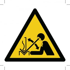 W032: Warning; Rapid Movement Of Workpiece In Press Brake 300x300 (sticker)
