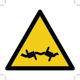 W033: Warning; Barbed Wire 100x100 (sticker)