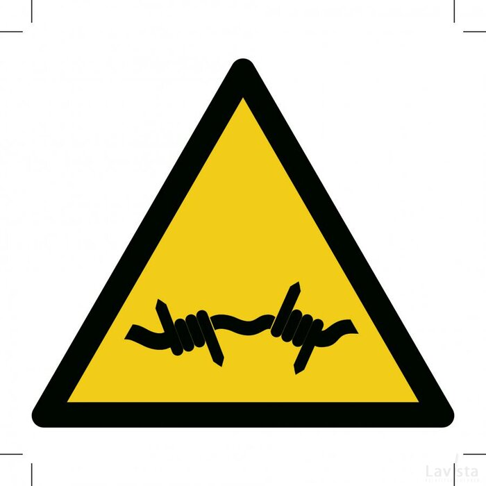 W033: Warning; Barbed Wire 200x200 (sticker)