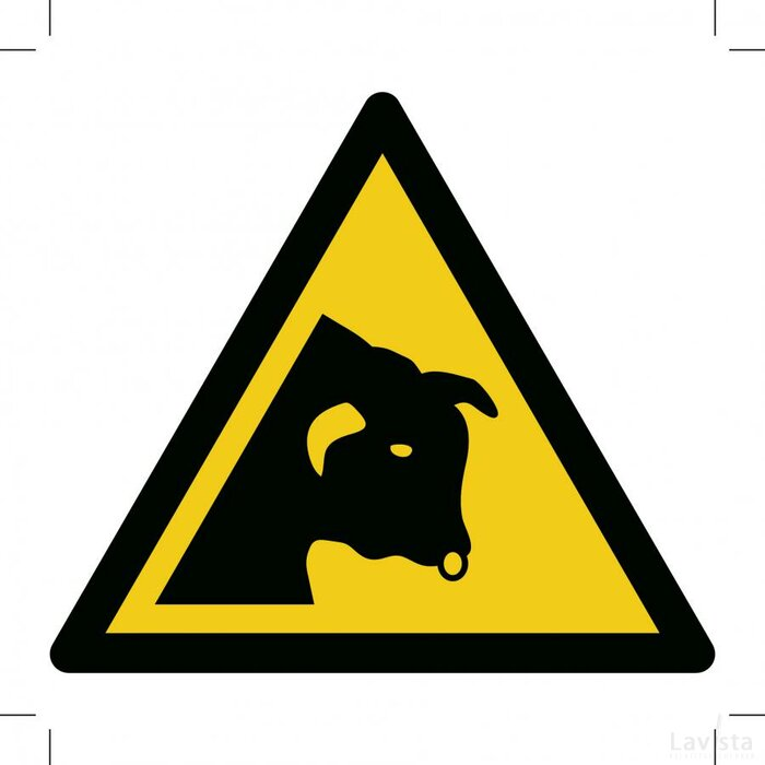 Waarschuwing, Loslopende Stier 150x150 (bordje)