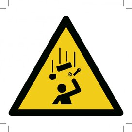 W035: Warning; Falling Objects 200x200 (sticker)