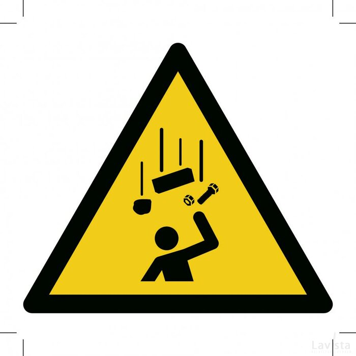 W035: Warning; Falling Objects 500x500 (sticker)