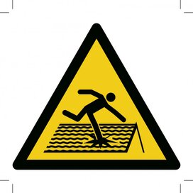 W036: Warning; Fragile Roof 100x100 (sticker)