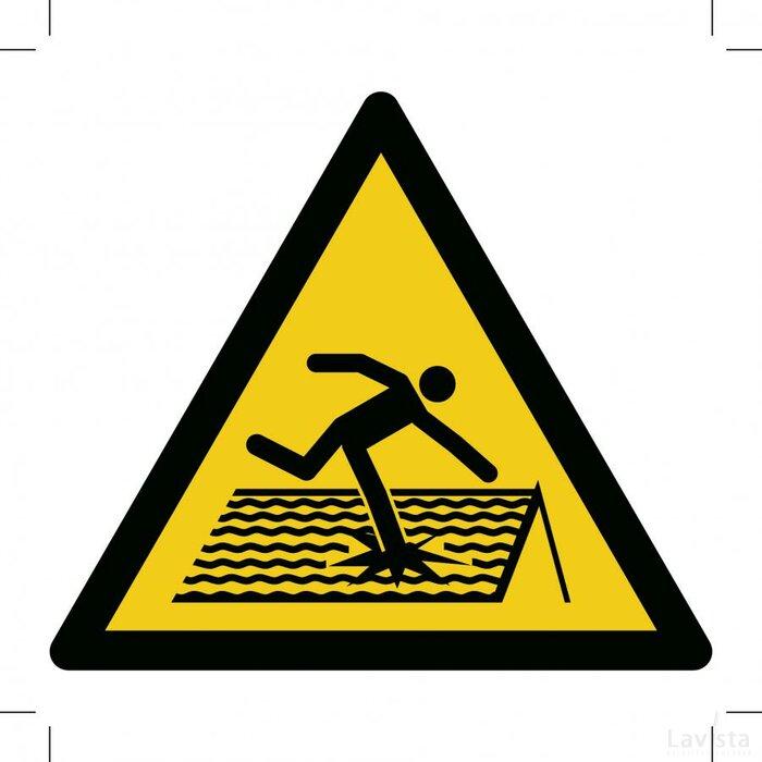 W036: Warning; Fragile Roof 400x400 (sticker)